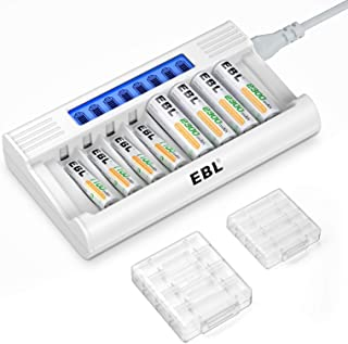 EBL 単3形・単4形充電池充電器セット 急速充電器+単三電池(2300mAh*4)+単四電池(1100mAh*4)セット 単三単四ニッケル水素充電池に対応 8スロット LCD付き 単三単四ニッケル水素電池に対応