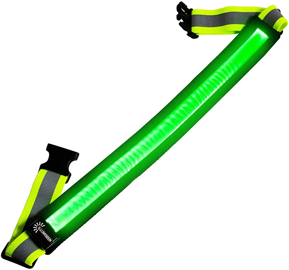 LED Reflective Belt - USB Rechargeable - High Visibility Gear for Running, Walking & Cycling - Fits Women, Men & Kids - Fully Adjustable & Lightweight - Safer Than a Reflective Vest - Green, Red, Blue g13872968806757