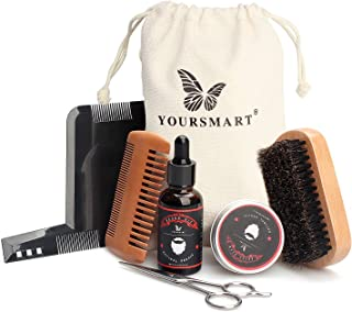 YOURSMART Beard Care Kit - Mens Beard Grooming Set Includes Beard Oil, Beard Wax, Mustache Scissors, Wood Beard Comb, Brush and Beard Shaping