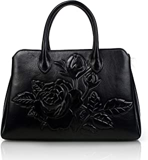 Designer Unique Embossed Floral Cowhide Leather Tote Style Ladies Top Handle Bags Handbags