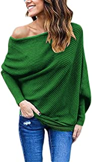 Salimdy Women's Sexy Off Shoulder Batwing Sleeve Oversized Loose Pullover Sweater Knit Jumper