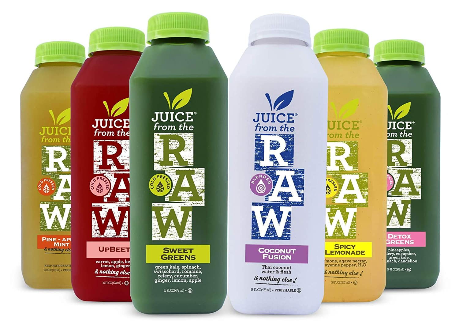 3-Day Juice Cleanse with Coconut Fusion by Juice From the RAW® - Most Popular Juice Cleanse to Lose Weight Quickly / Detoxify Your Body / 100% Raw Cold-Pressed Juices (18 Total 16 oz. Bottles)