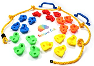 Rainbow Craft DIY Monkey Rock Climbing Holds Set Buddles of 20Pc with 2Pc Handles and 8Ft Knotted Rope for Kids Outdoor Play Includes Mounting Screws and Hooks