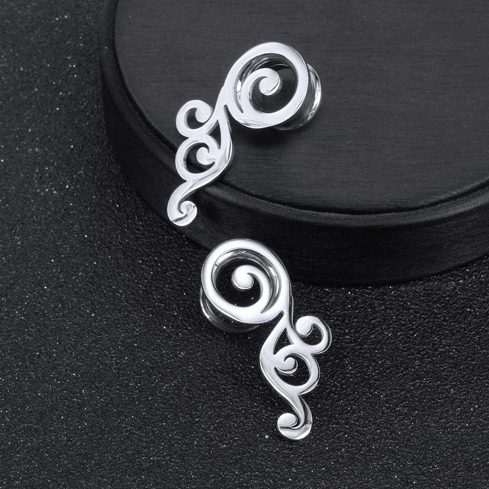 2G-5/8'' Stainless Steel Double Flared Screw Ear Gauges Wings Ear Tunnels Ear Plugs Expanders Body Piercing Jewelry