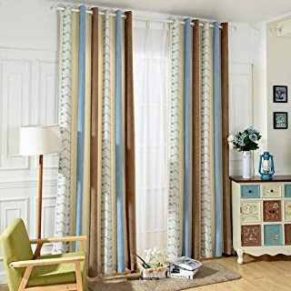 Anady Top Striped and Flower Curtains Drapes Luxurious Chenille Blue Brown Curtains for Living Room Grommet 84 inch Length 2017 New
