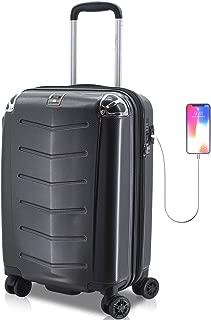 Villagio Hardshell Luggage - Polycarbonate 8 Wheel Spinner with Slash Proof Zipper and TSA lock/Maleta De Viaje De Polycorbonato Con TSA Candado (Black)