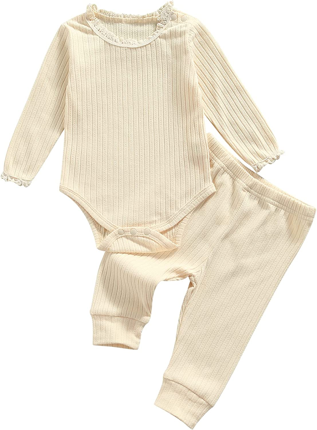 2 Pcs Newborn Baby Girls Clothes Set Lace Trim O-Neck Long Sleeve Romper+Solid Color Trousers