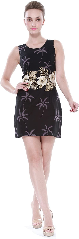 Made in Hawaii Women's Hawaiian Luau Tank Dress in Hibiscus Belt White and Grey