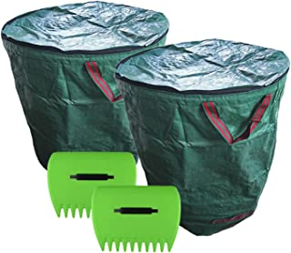 Reusable Garden Waste Bags with lid, 2 x 400 liters (106 gallons) Garden Bag + 2 x Lawn Claws, Can Quickly Help You Clean ...