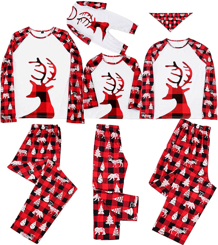 Family Christmas pjs Matching Set 2021 Christmas Pjs for family Set Red Plaid Top and Long Pants Sleepwear Sets