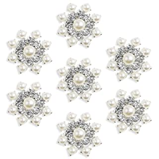 Silver Crystal Snowflake Pearl Rhinestone Buttons Brooches - YIMIL Flat Back Rhinestone Buttons for Crafts Flower Embellishments Brooches Hair Accessories, Pack of 24.