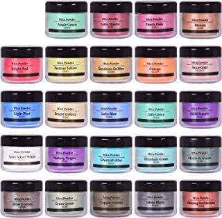 24 Colors Powder Colorant Pigment, Mica Powder for Resin Dye Epoxy, DIY Soap Making, Nail Art, Bath Bombs, Candle Making, ...
