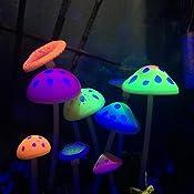 decoraciones de pl/ástico de hongos artificiales brillantes para decoraci/ón de peceras. Govine Decoraciones de acuario