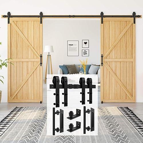 Homlux 12ft Heavy Duty Sturdy Sliding Barn Door Hardware Kit Double Door Whole Set Include 2X Round Door Handle, 2X F...