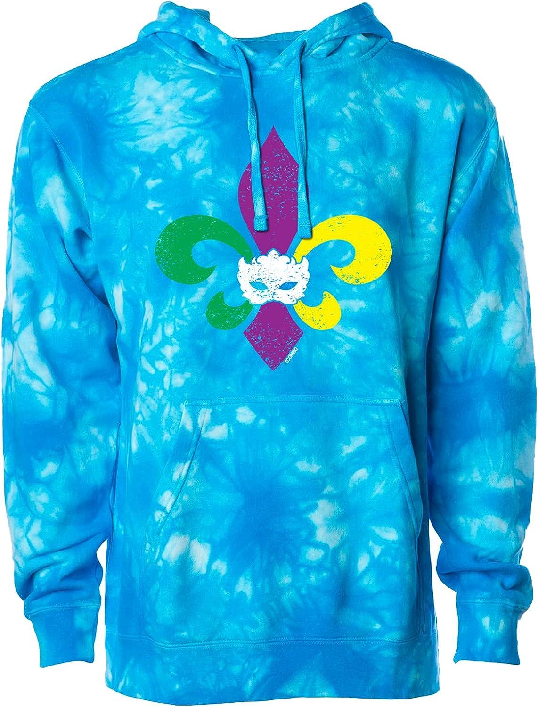 Mardi Gras Fleur De 激安挑戦中 Lis 当店一番人気 - Mask Hoodie Feast Unisex S Celebration