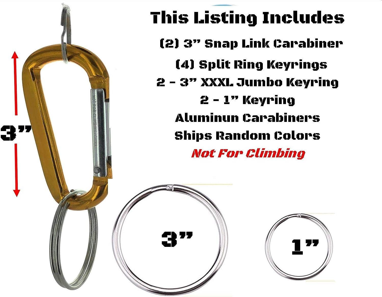 "2PCS Carabiner Clip Key 3"" Large D Ring 4 Split Ring Keyrings Two (2) 1"" Two (2) XL Capacity 2"" Rings   Aluminum   Snaplink   2pc Carabineer Hook Set 2 Sizes of Split Key Rings   Color Assorted Random"