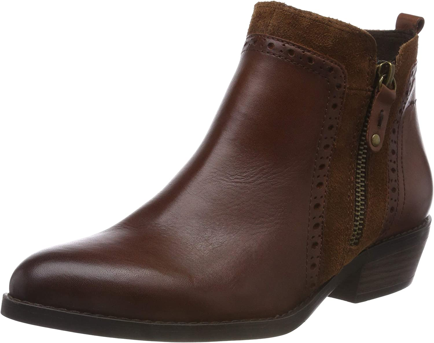 Marco Tozzi Women's Cognac Brown Leather Low Heel Ankle Boot