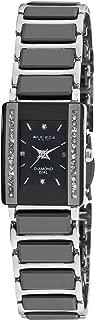 Women's Rectangular Diamond Watch - Two Rows of Genuine Crystals Ceramic Inner Link Bracelet - AK522