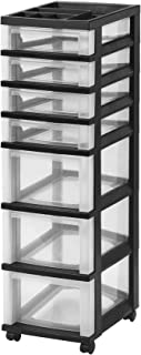 IRIS 7-Drawer Rolling Storage Cart with Organizer Top, Black