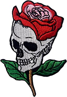 Skull Rose Applique Embroidered Flower Iron On Sew On Patch