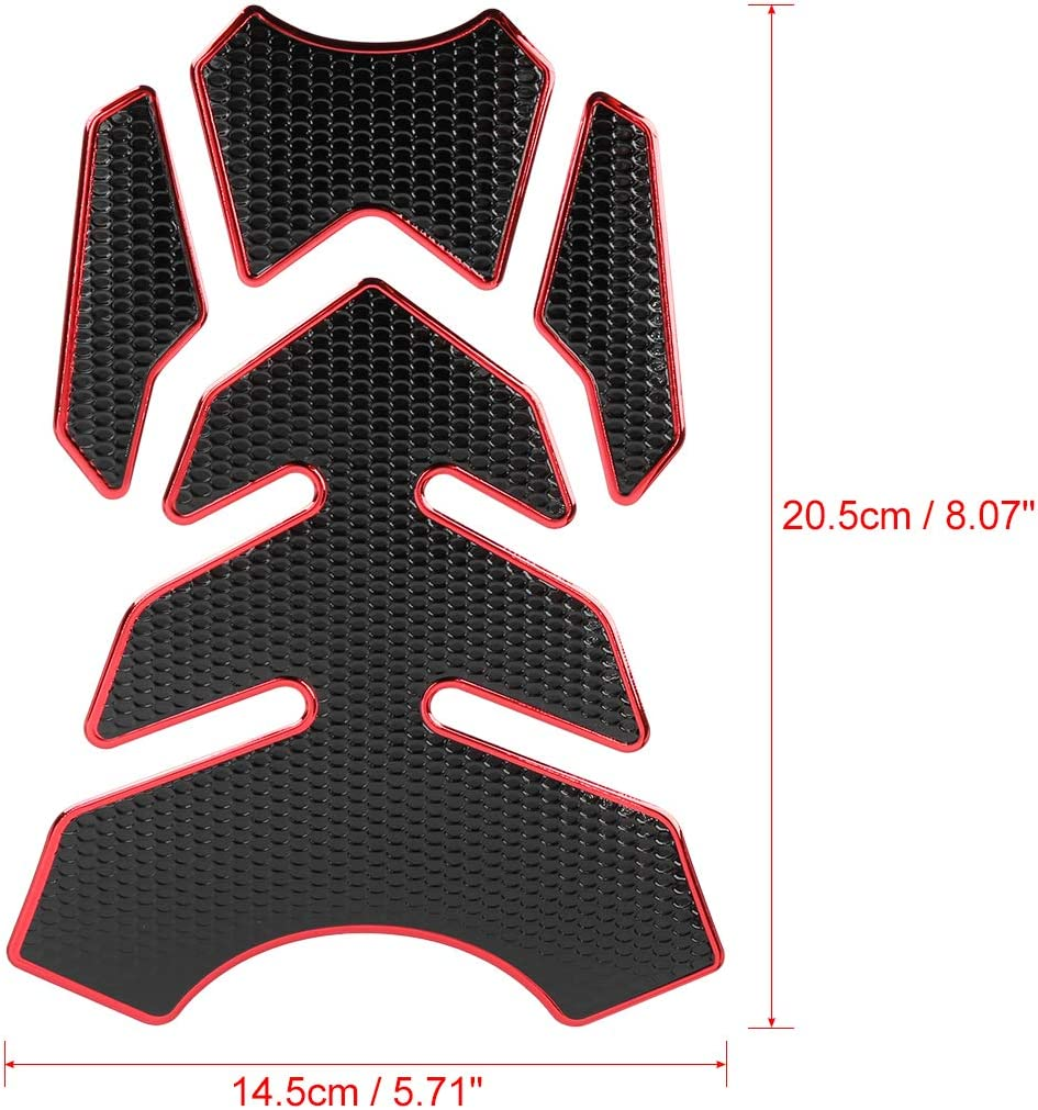 F FIERCE CYCLE Universal Motorcycle Gas Oil Fuel Tank Protector 3D PVC Rubber Pad Emblem Badge Sticker Red Protector Decal