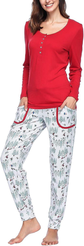 Ink+Ivy Women Pajamas Set, Fleece & Cotton Ladies Pjs 2 Piece  Long Sleeve Rib Henley Top & Flannel Pants
