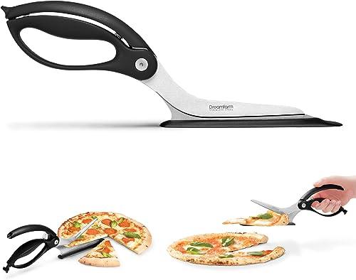 Dreamfarm-Scizza- -Non-Stick,-Stainless-Steel-Pizza-Cutter-Scissors-with-Protective-Server