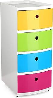 Tatay Torre ordenación plástico Resistente con Cuatro cajones de Vivos Colores Acabado Brillante Ideal para niños. Topes...