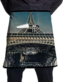 Jaylon Waist Short Apron Half Chef Apron Paris Tower Blue Cooking Apron with Pockets Home Kitchen Cooking Pinafore