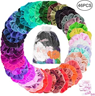 kuou 45 Pieces Velvet Scrunchies, Colorful Hair Scrunchies with Storage Bag Elastic Hair Bobbles Velvet Ponytail Holder Headbands for Women Girls Lady Children Hair Accessories