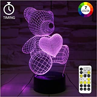 ZOKEA Night Light 3D lamp 7 Colors Changing Nightlight with Smart Touch & Remote Control 3D Night Light for Kids or as Gifts for Women Kids Girls Boys (Teddy Bear)