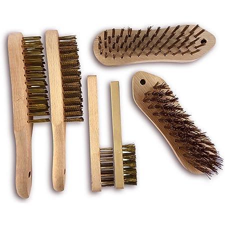 Fil Brosse de Nettoyage 4 rangées d/'acier Brosse avec manche en bois TE407 12 Pack