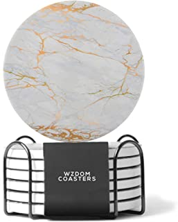WZDOM Coasters for Drinks Absorbent with Holder - Ceramic Stone - Drink Coasters with Cork Base - Absorbent Coaster Set - Housewarming Gift - Set of 6 White Coasters