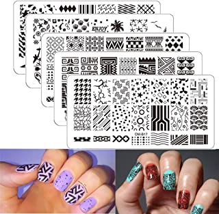 Nail Stamping Plates DAODER 5pcs Geometric Drawing Summer Pattern Nail Art Printing DIY Image Nail Stamper & Scraper Kit