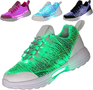 Hotdingding Women Men Kids Fiber Optic LED Shoes Light Up Sneakers with USB Charging Flashing Festivals Party Dance Lumino...