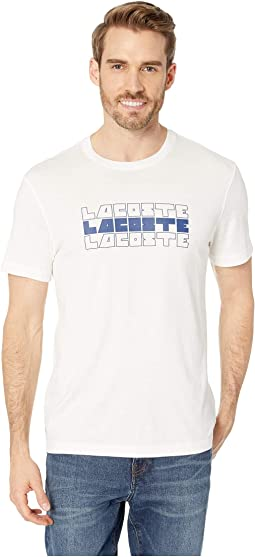 Short Sleeve Regular Fit Lacoste 3 Tier Wordplay T-Shirt