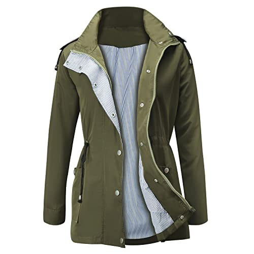 FISOUL Raincoats Waterproof Lightweight Rain Jacket Active Outdoor Hooded  Women s Trench Coats b39c918ec