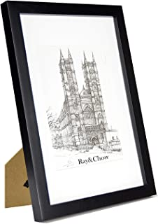 Ray & Chow A4 Black Matted Picture Frame - Made to Display Pictures 6x8 inch with Mat or A4 Without Mat- Solid Wood- Glass Window- with Stand or Wall Hanging