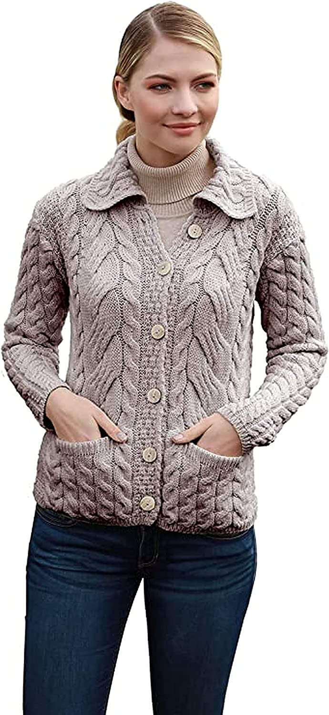 Irish Cardigan Sweater for Women Made in Ireland Knit SuperSoft Merino Wool Coat