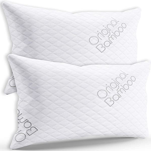Premium Luxury Pillows For Sleeping 2 Pack Shredded Memory Foam Adjustable Firm Or Soft Loft Standard Queen Pillow Cooling Removable Soft Cover Side Sleepers Back Sleepers