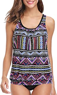 Yonique Ladies Tribal Blouson Tankini Swimsuits for Women 2 Piece Bathing Suits