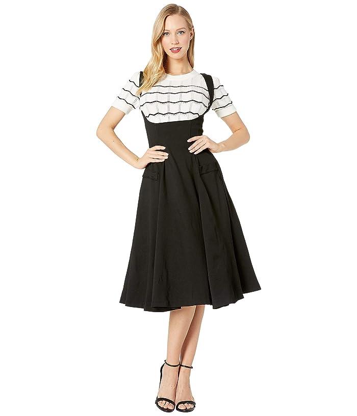 Unique Vintage 1950s High-Waisted Amma Suspender Swing Skirt (Black) Women