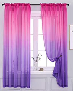 Sheer Curtain Ombre Drapes Pink Purple 63 inch Long Voile...