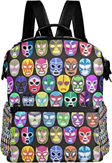 TARTINY Luchador Fighter Mask Set Seamless Pattern Laptop Backpack Leather Strap School Bag Outdoor Travel Casual Daypack