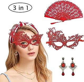 Venezianische Maske Sexy & Rot Handfächer Faltfächer Vintage Stil &Ohrringe Damen Spitze Augenmaske Gothic Maskerade Gesichtsmasken für Maskenball katzenohren Kostüm fasching Karneval Party red