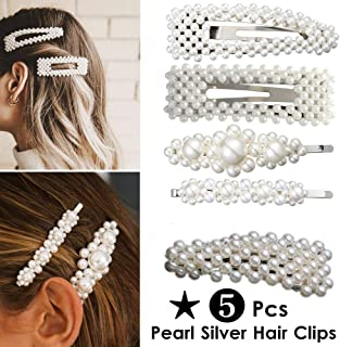 ANGELANGELA 5PCS Silver Pearl Hair Clips Set for Women Girls Mom Kids, Mothers Day Gift, Large Beaded Pearl Flower Barrettes Hairpin Wedding Mother Daughter Best Friends Matching Hair Pin
