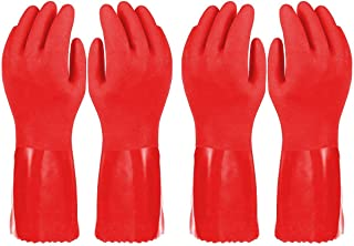 2 Pairs Small Red Ultimate Household Gloves Cotton Liner Kitchen Gloves Good for dishwashing