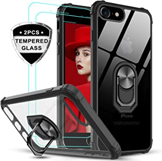 LeYi Funda iPhone 6 / 6S con [2-Unidades] Cristal Vidrio Templado,Transparente Carcasa con 360 Grados iman Soporte Silicona Bumper Antigolpes Armor Case para Movil iPhone 6S,Clear Negro
