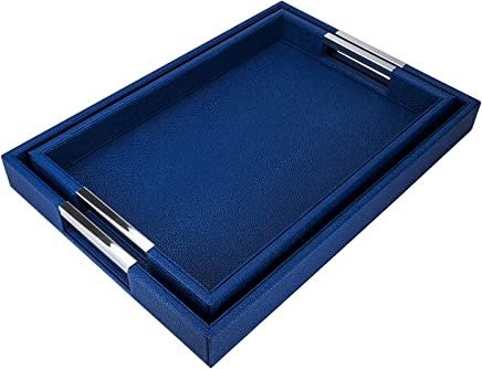 Blue with White Line American Atelier Rectangle Tray with Handles
