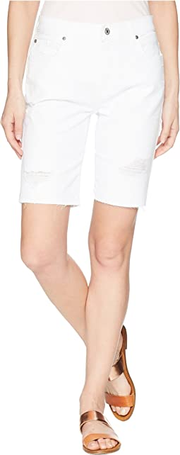 High-Waist Straight Bermuda Shorts in White Fashion 4
